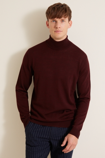 Moss London Burgundy Roll-Neck Jumper