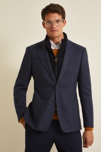 Savoy Taylors Guild Tailored Fit Mid Blue Birdseye With Insert Jacket