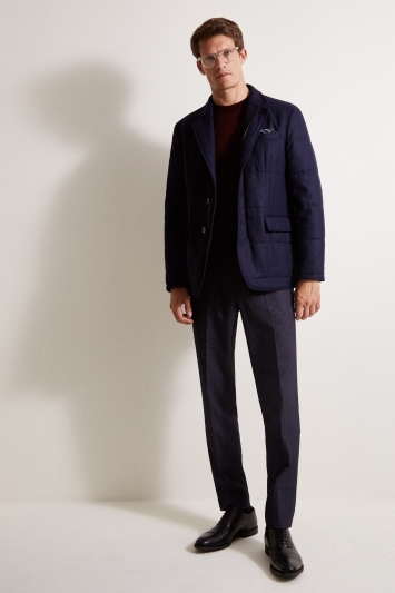 Savoy Taylors Guild Tailored Fit Navy Padded Jacket