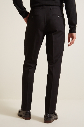 Moss London Slim Fit Black with Tartan Taping Desswear Trousers