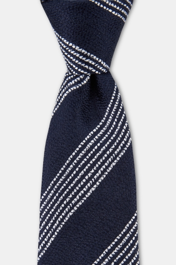 Moss 1851 Navy with White Broken Stripe Silk Tie