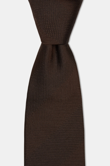 Moss 1851 Brown Herringbone Wide Stripe Silk Tie