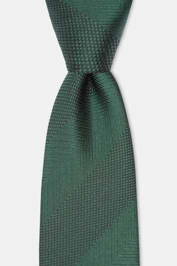 Moss 1851 Green Herringbone Wide Stripe Silk Tie