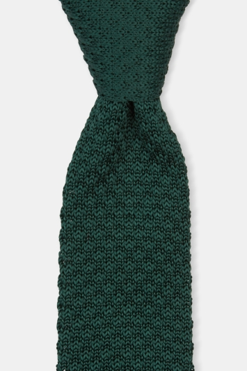 Moss London Green Chunky Knitted Tie