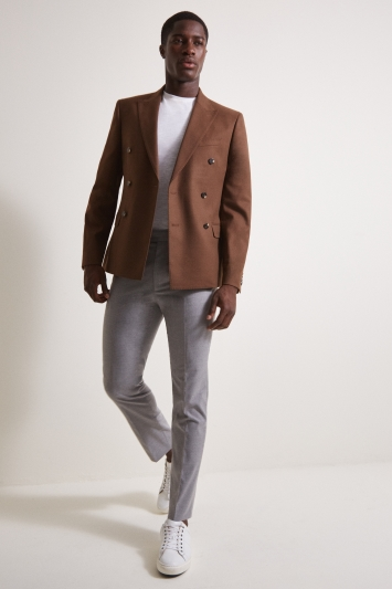 French Connection Slim Fit Burnt Rust Double Breasted Jacket