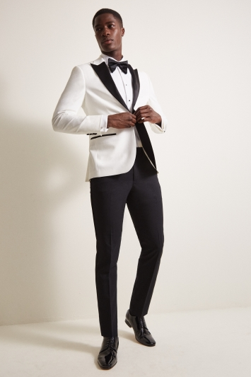 Moss London Slim Fit White With Black Lapel Dresswear Jacket