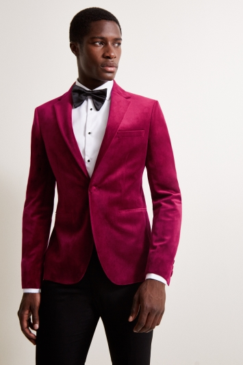 Moss London Slim Fit Berry Velvet Dresswear Jacket