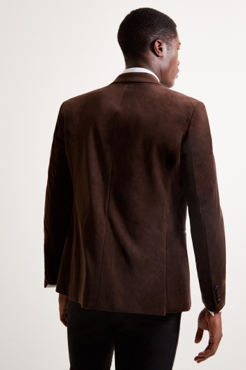 Moss London Slim Fit Brown Velvet Dresswear Jacket