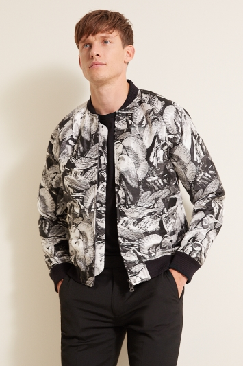 Moss London Slim Fit Black & White Heron Bomber Jacket