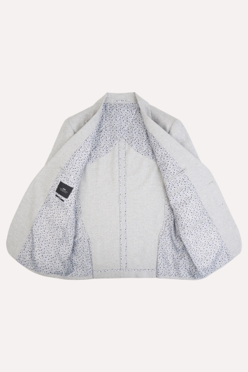 Moss London Slim Fit Light Grey Herringbone Tweed Jacket