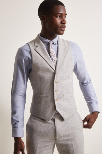 Moss London Slim Fit Light Grey Herringbone Tweed Waistcoat