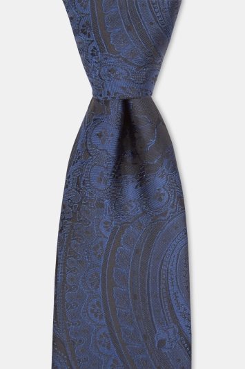 Moss London Black & Navy Paisley Tie