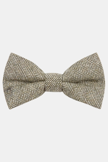 Moss London Sage Herringbone Tailoring Cloth Bow Tie
