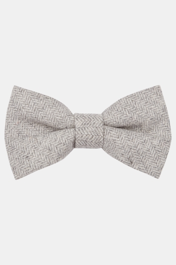 Moss London Ecru Herringbone Tailoring Cloth Bow Tie