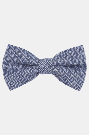 Moss London Blue Herringbone Tailoring Cloth Bow Tie