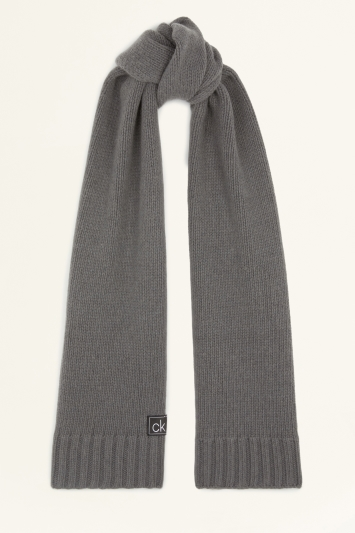 Calvin Klein Dark Grey Knitted Scarf and Beanie Set