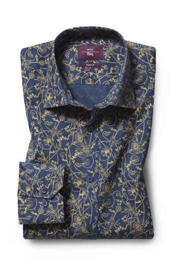 Moss Esquire Regular Fit Blue Single Cuff Floral Print Shirt