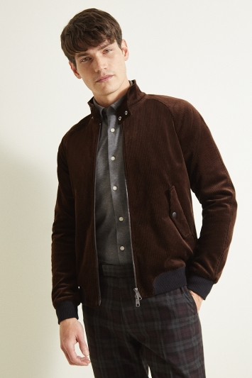 Moss London Slim Fit Chocolate Brown Cord Biker Jacket