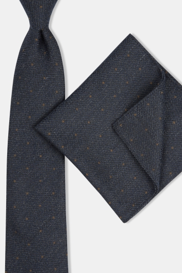 Moss London Navy Semi-Textured with Toffee Spot Tie