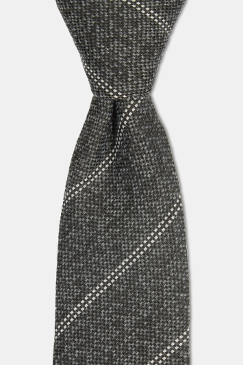Moss London Dark Grey with White Stripe Warm Handle Tie