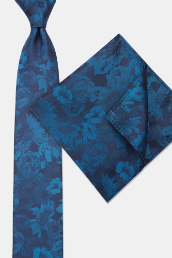 Moss London Navy & Petrol Tonal Flower Tie & Pocket Square Set