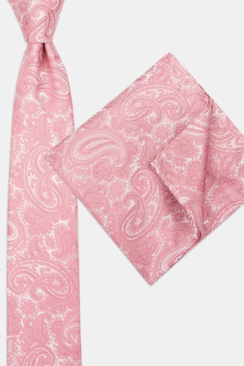 Moss London Mid-Pink Tonal Paisley Tie & Pocket Square Set