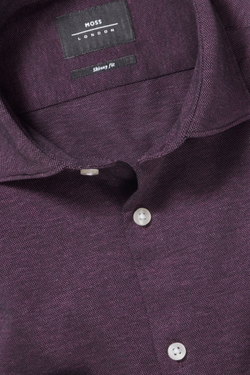Moss London Skinny Fit Purple Single Cuff Knitted Pique Shirt