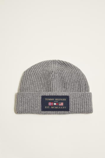 Tommy Hilfiger Mid-Grey Melange Outdoors Patch Beanie