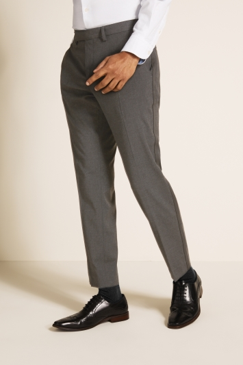 Moss London Slim Fit Charcoal With Side Stripe Trousers