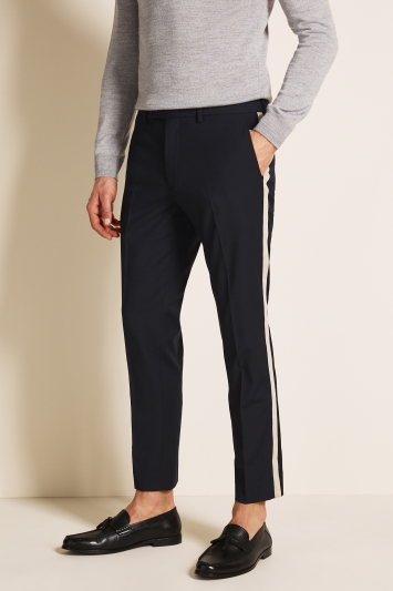 Moss London Slim Fit Navy With Cream Side Stripe Trousers