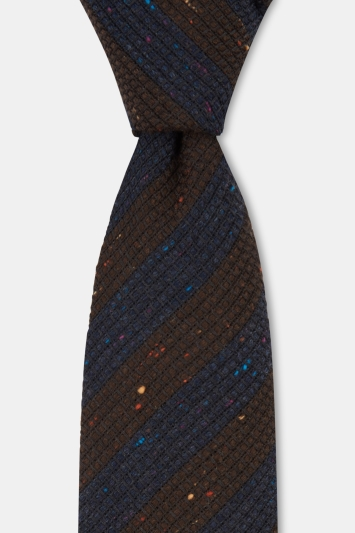 Savoy Taylors Guild Navy & Brown Bold Stripe Textured Italian Tie
