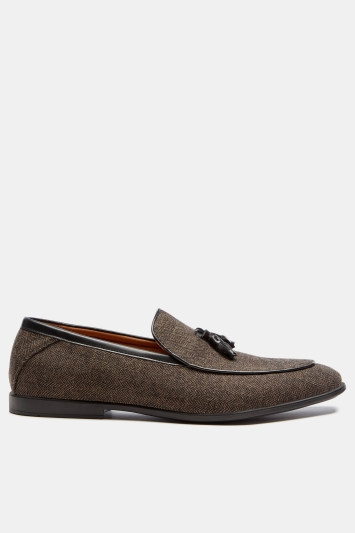 Moss London Durbury Brown Herringbone Tassel Dress Slipper
