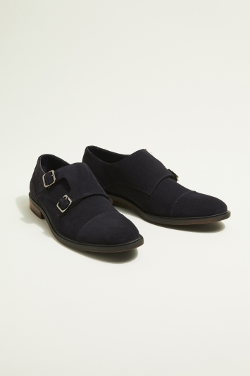 Moss London Elwood Navy Suede Double-Buckle Toecap Monk Shoe