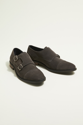Moss London Elwood Grey Suede Double-Buckle Toecap Monk Shoe
