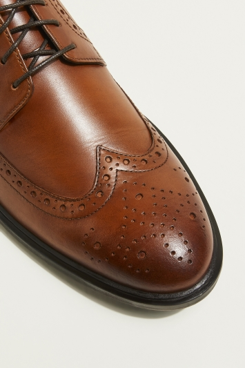 Moss London Brunswick Cognac Brogued Derby Shoe