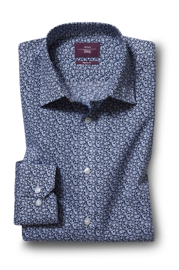 Moss Esq. Regular Fit Navy Single Cuff Floral Shirt