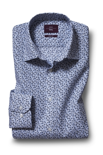 Moss Esq. Regular Fit Sky Single Cuff Floral Shirt