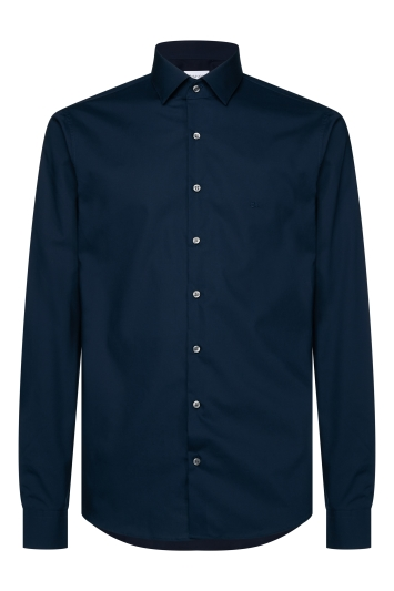 Calvin Klein Slim Fit Midnight Blue Single Cuff Poplin Stretch Shirt
