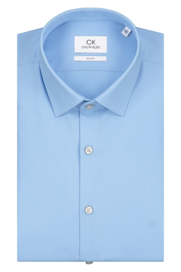 Calvin Klein Slim Fit Light Blue Single Cuff Poplin Stretch Shirt