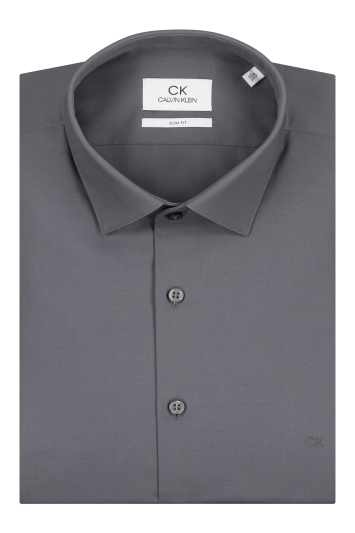Calvin Klein Slim Fit Charcoal Single Cuff Poplin Stretch Shirt