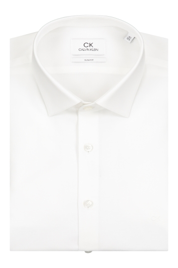 Calvin Klein Slim Fit White Single Cuff Poplin Stretch Shirt