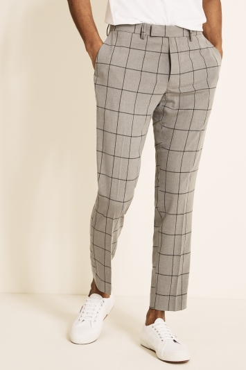 Moss London Slim Fit Light Grey Windowpane Trouser