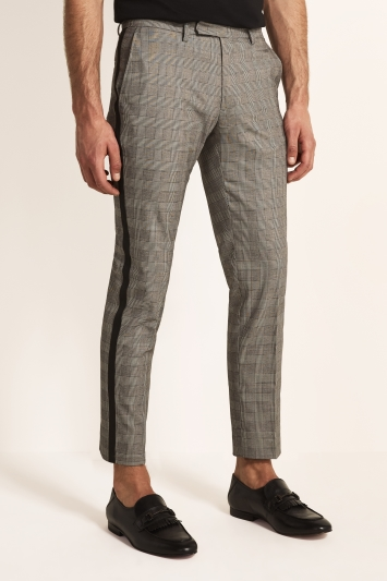 Moss London Slim Fit Grey Check With Black Side Stripe Cropped Trouser