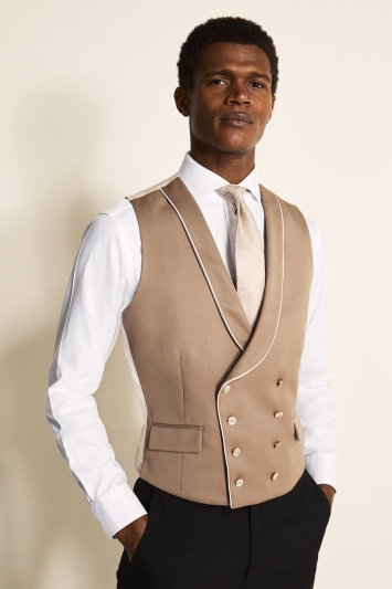 Moss Bros Covent Garden Tailored Fit Brown Double Breasted Waistcoat