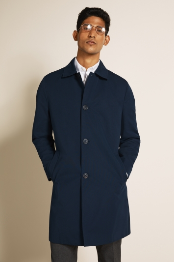 Moss London Slim Fit Blue Lined Raincoat