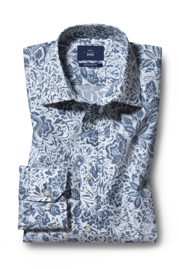 Moss 1851 Regular Fit Navy Single Cuff Floral Print Shirt
