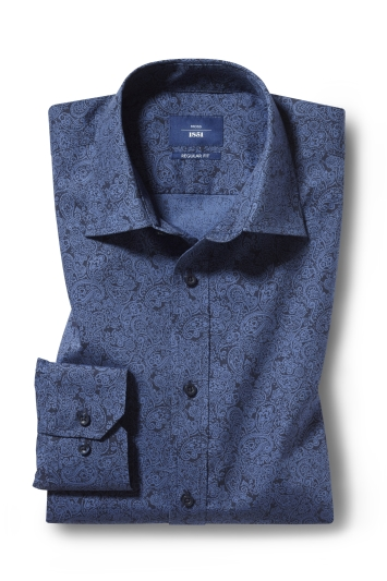 Moss 1851 Regular Fit Navy Single Cuff Paisley Print Shirt
