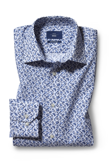 Moss 1851 Regular Fit Blue Single Cuff Floral Print Shirt