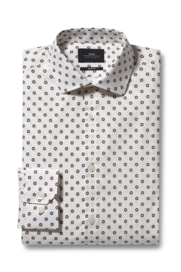Moss London Slim Fit Red Single Cuff Geo Print Shirt
