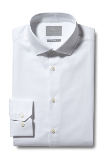 Moss London Slim Fit White Single Cuff Twill eco Shirt